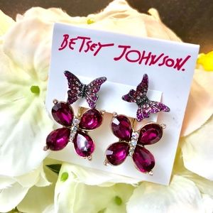 Betsey Johnson Gold-Tone Butterfly Drop Earrings